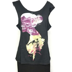 Threadless Tops - Threadless Female Modern Black Tank Top A050516